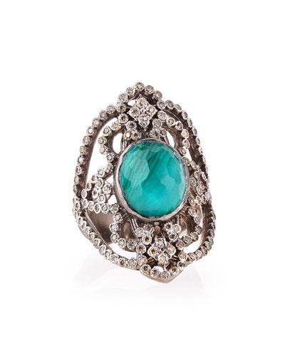 Armenta New World Scroll Ring with Malachite/Blue Topaz & Diamonds,  Size 6.5