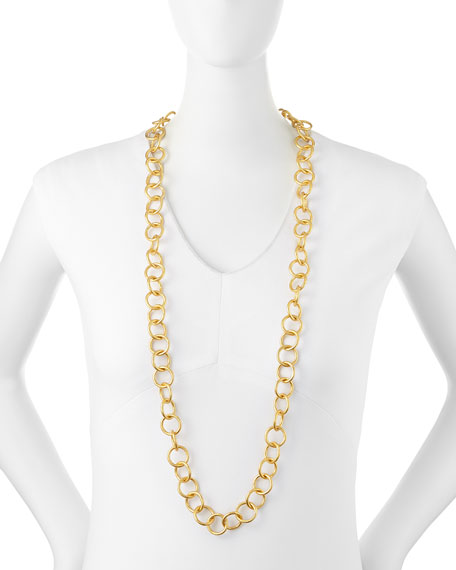 """24k Gold-Plated Bronze Classic Link Necklace, 42"""""""