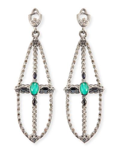 Armenta New World Elongated Pear Chandelier Earrings