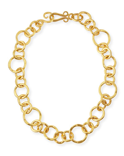 24k Gold-Plated Bronze Coronation Necklace, 18""