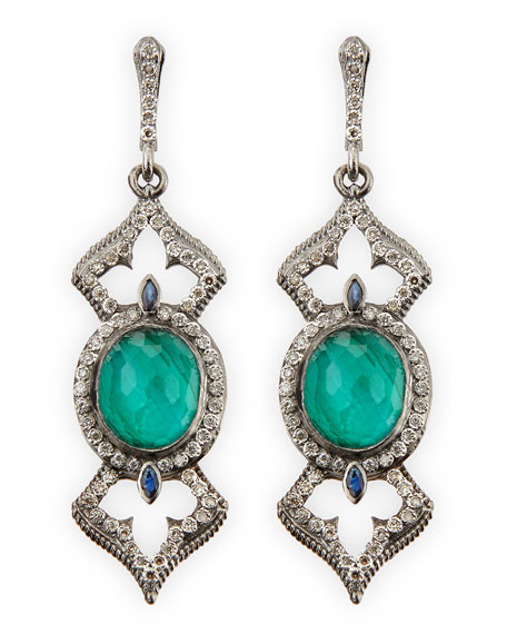 Armenta New World Open Oval Earrings with Diamonds