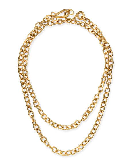 "24k Yellow Gold Plated Tudor Chain Necklace, 36""L"