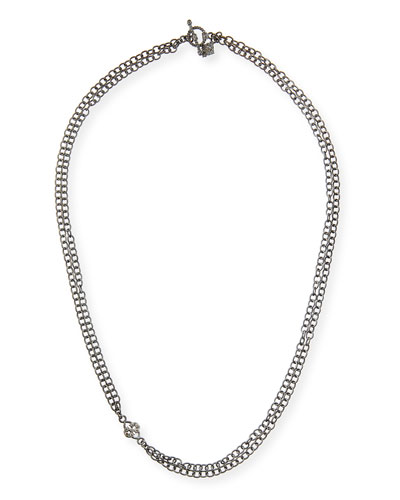 Armenta Double-Strand Chain Necklace with Champagne Diamond Scroll