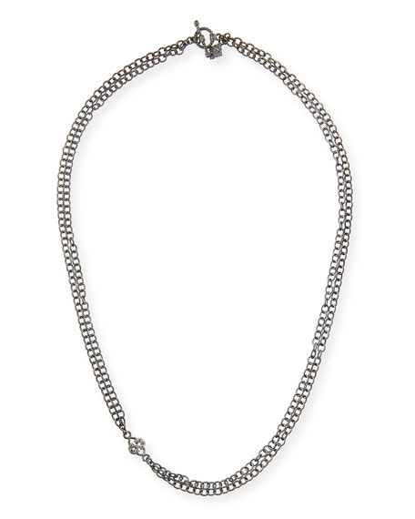 Armenta Double-Strand Chain Necklace with Champagne Diamond