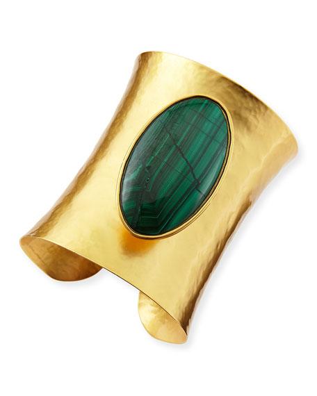 24k Gold-Dipped Goddess Malachite Cuff