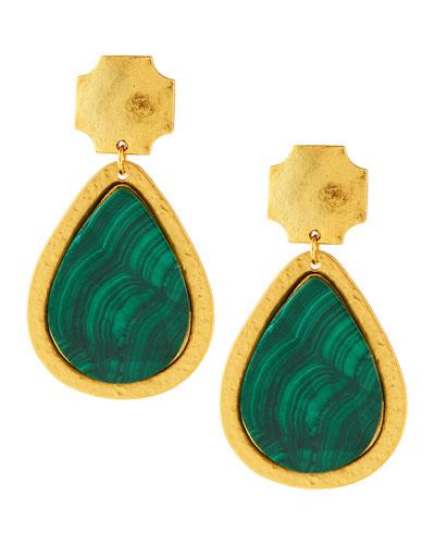 Stephanie Kantis 24k Gold-Dipped Russet Malachite Earrings