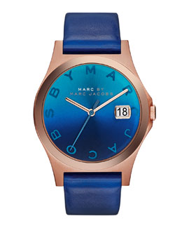 MARC by Marc Jacobs 36mm The Slim Watch with Leather Band, Blue