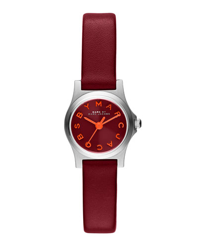 MARC by Marc Jacobs 21mm Henry Analog Watch with Leather Strap, Red