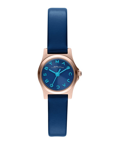 MARC by Marc Jacobs 21mm Henry Analog Watch with Leather Strap, Blue