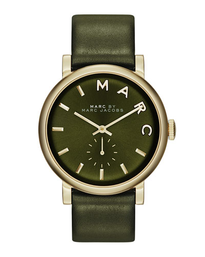 MARC by Marc Jacobs Baker Analog Watch with Leather Strap, Golden/Olive