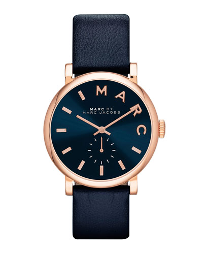 MARC by Marc Jacobs Baker Analog Watch with Leather Strap, Rose Golden/Navy