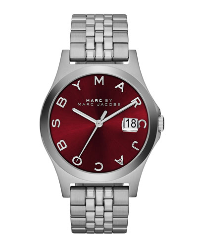 MARC by Marc Jacobs 36mm The Slim Stainless Watch with Bracelet, Red Dial