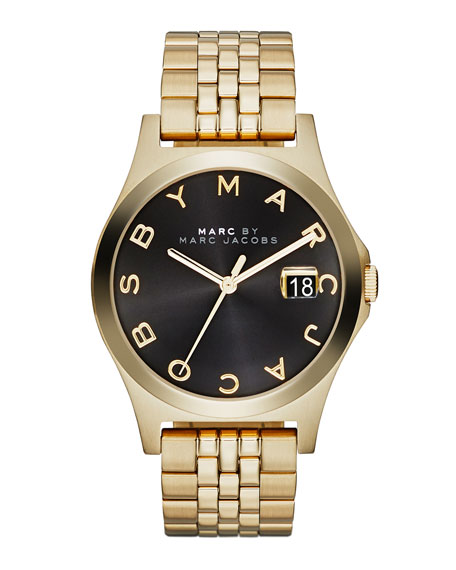 36mm The Slim Golden Watch with Bracelet, Black Dial