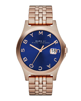 MARC by Marc Jacobs 36mm The Slim Rose Golden Watch with Bracelet, Blue Dial