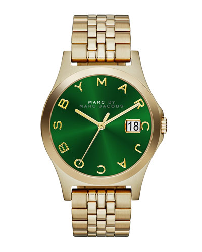 MARC by Marc Jacobs 36mm The Slim Golden Watch with Bracelet, Green Dial