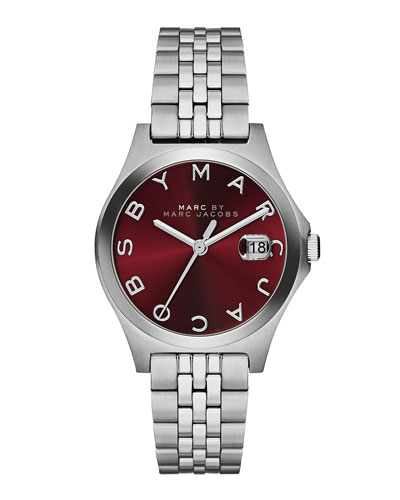 MARC by Marc Jacobs 30mm The Slim Stainless Watch with Bracelet, Red Dial