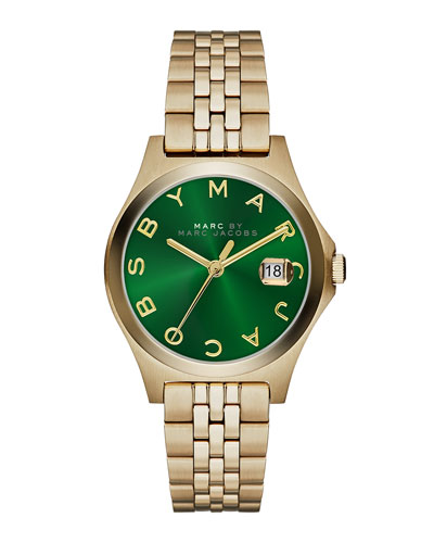 MARC by Marc Jacobs 30mm The Slim Golden Watch with Bracelet, Green Dial
