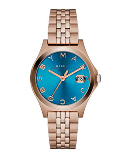 MARC by Marc Jacobs 30mm The Slim Rose Golden Watch with Bracelet, Turquoise Dial