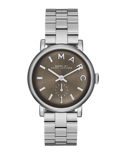 MARC by Marc Jacobs Baker Stainless Analog Watch with Bracelet, Gray Dial
