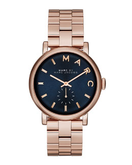 MARC by Marc Jacobs Baker Rose Golden Analog Watch with Bracelet, Navy Dial