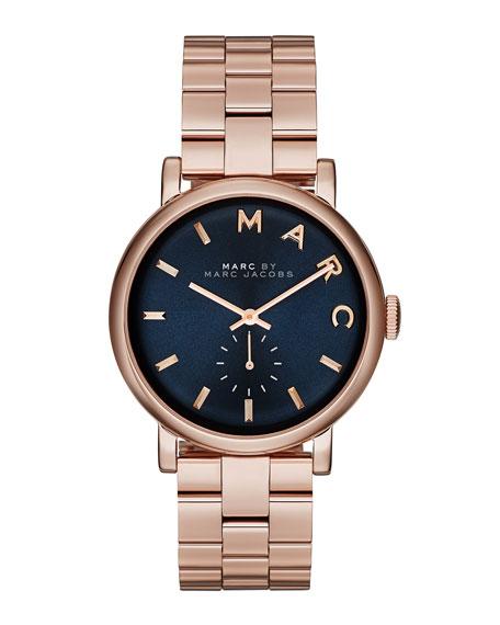 Baker Rose Golden Analog Watch with Bracelet, Navy Dial