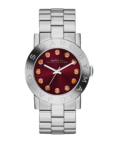 MARC by Marc Jacobs 36mm Amy Crystal Analog Watch with Bracelet Strap, Stainless/Red
