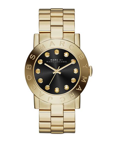 36mm Amy Crystal Analog Watch with Bracelet Strap, Golden/Black