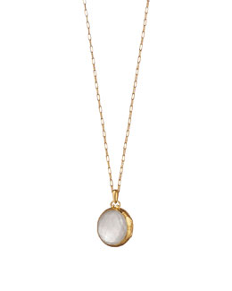 Monica Rich Kosann 18k White Crystal Mother-of-Pearl Locket Necklace