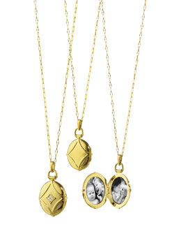 Monica Rich Kosann 18k Gold & Diamond Quatrefoil Locket Necklace