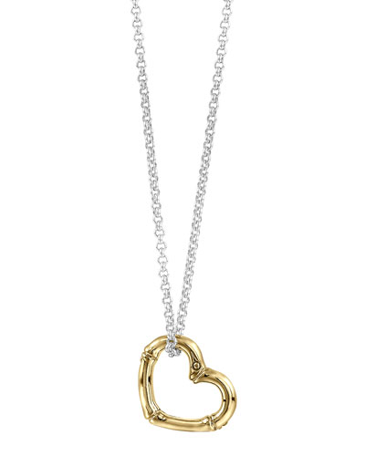 18k Gold Bamboo Heart Necklace