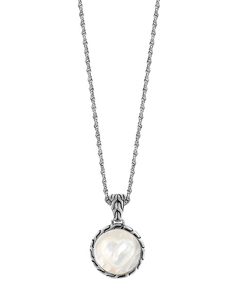 Classic Chain Silver Mother-of-Pearl Heart Round Pendant Necklace