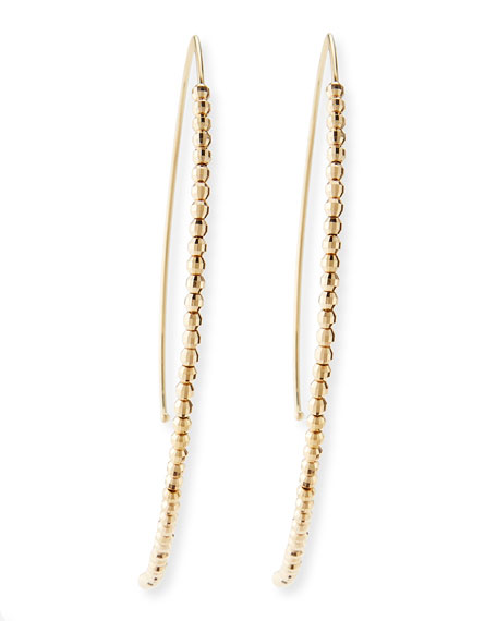 Mizuki 14k Gold Beaded Marquise Drop Earrings
