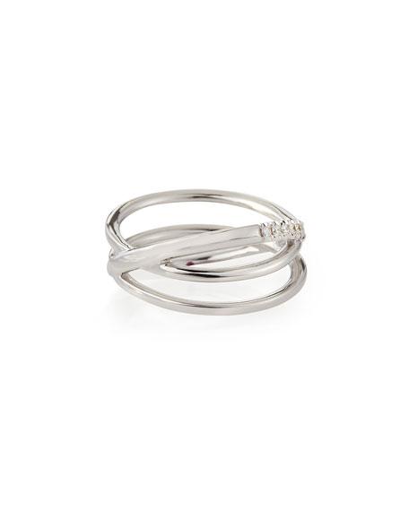 18k White Gold Diamond Crisscross Ring