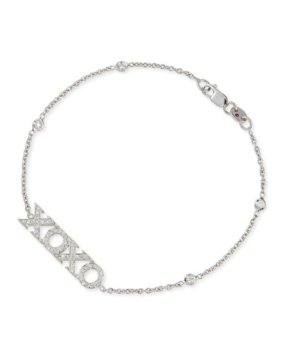 Roberto Coin 18k White Gold Diamond XOXO Charm Bracelet