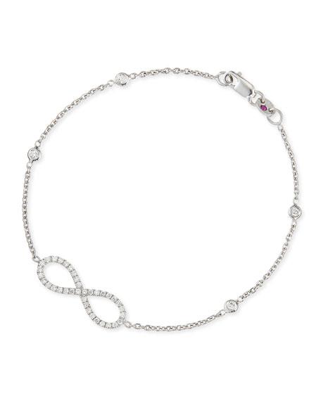 18k White Gold Medium Diamond Infinity Charm Bracelet