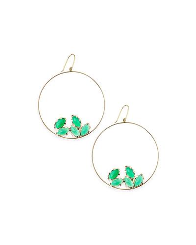 Lana 14k Gold Green Onyx Eclipse Earrings