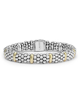 Lagos Sterling Silver Caviar Rope Bracelet with 18k Gold