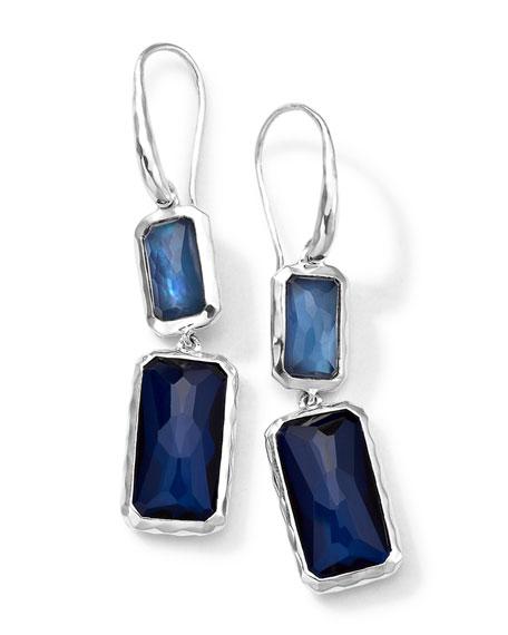 Rectangle-Cut Quartz & Mother-of-Pearl/Pyrite Earrings
