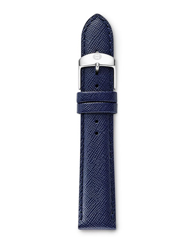 MICHELE 18mm Leather Watch Strap, Navy