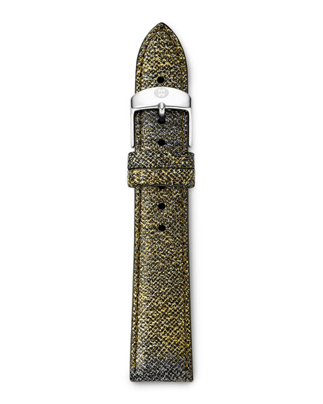 18mm Printed Leather Watch Strap, Metallic