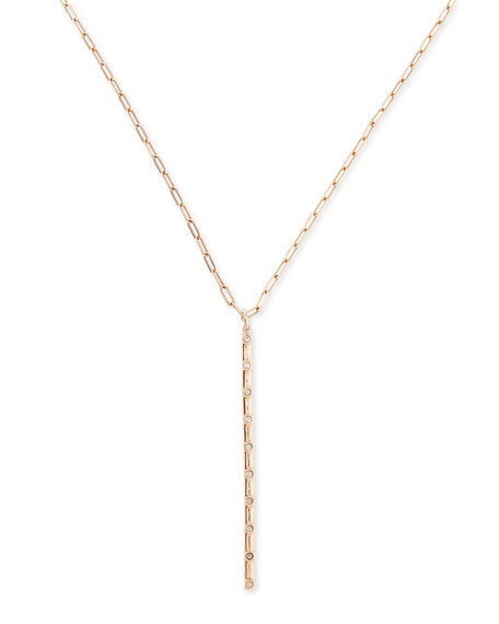 Katie Design Jewelry Rose Gold Rosary Bar Charm Necklace with Diamonds