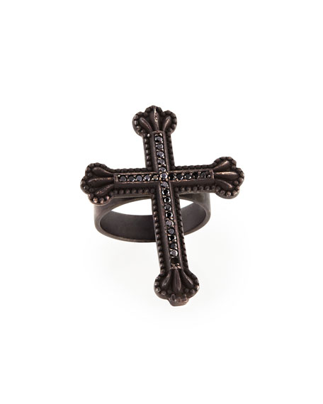 Ebonized Silver Crown the Cross Ring with Diamonds
