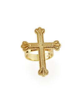 Katie Designs Yellow Gold Crown the Cross Ring