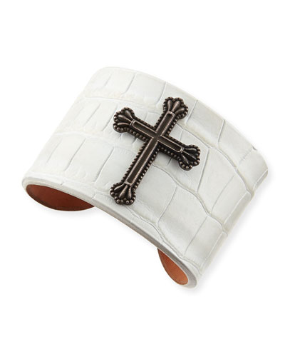 Black Crown the Cross Alligator Cuff, White