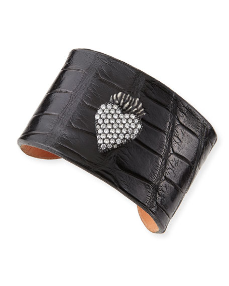 Katie Design Jewelry Black Burning Heart Alligator Cuff with Diamonds, Black