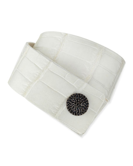 Katie Design Jewelry White Alligator Tuxedo Cuff with Black Diamonds