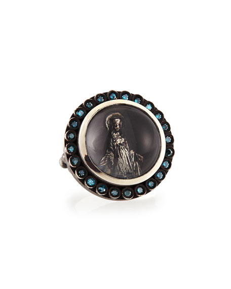 Katie Design Jewelry Modern Mary Ring with Blue