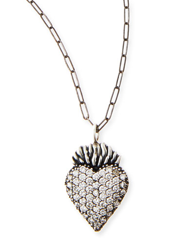 Katie Design Jewelry Black Burning Heart Charm Necklace