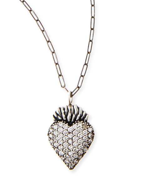 Black Burning Heart Charm Necklace