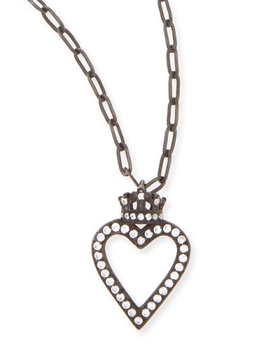 Katie Design Jewelry Black Crowned Open Heart Charm Necklace